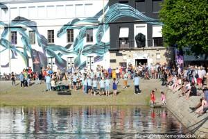Port de Vannes, le bagadig au Dédale Café  (semaine du golfe 2019)