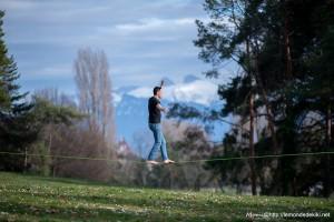 Slackline, à Vidy (vacances Suisse, février 2020)